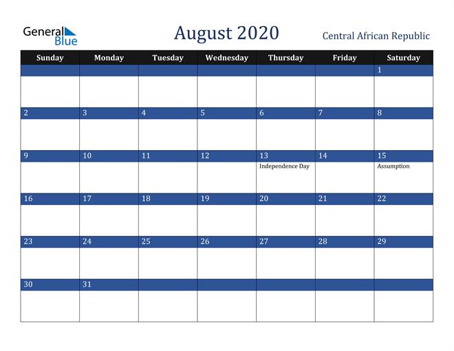 Image of August 2020 Stylish Dark Blue Calendar in PDF, Word and Excel Calendar