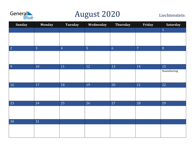 August 2020 Liechtenstein Calendar