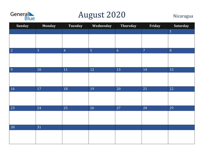 August 2020 Nicaragua Calendar