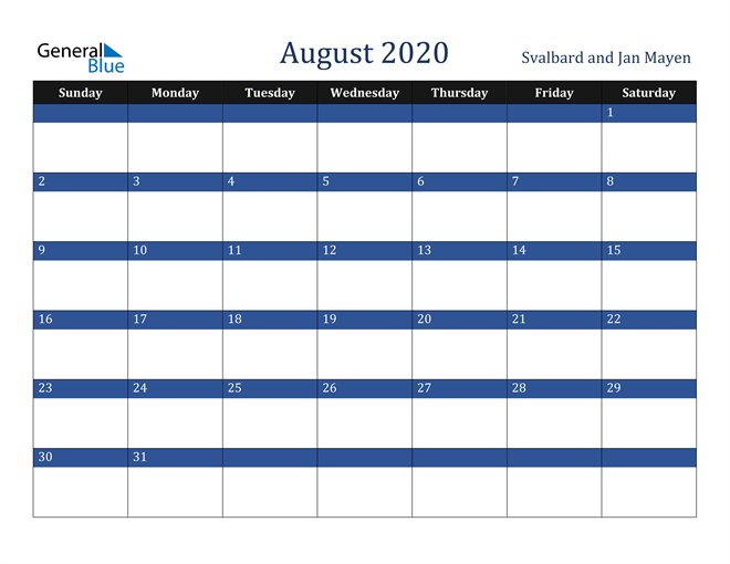 Image of August 2020 Stylish Dark Blue Calendar in PDF, Word and Excel Calendar