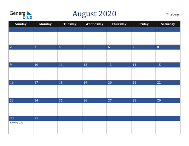 August 2020 Turkey Calendar