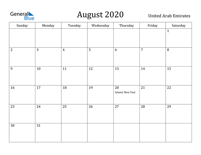 Image of August 2020 United Arab Emirates Calendar with Holidays Calendar