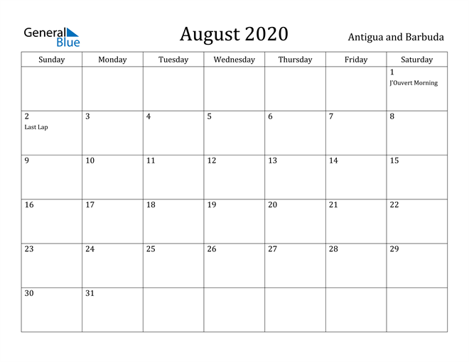 Image of August 2020 Antigua and Barbuda Calendar with Holidays Calendar