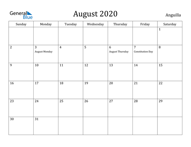 Image of August 2020 Anguilla Calendar with Holidays Calendar