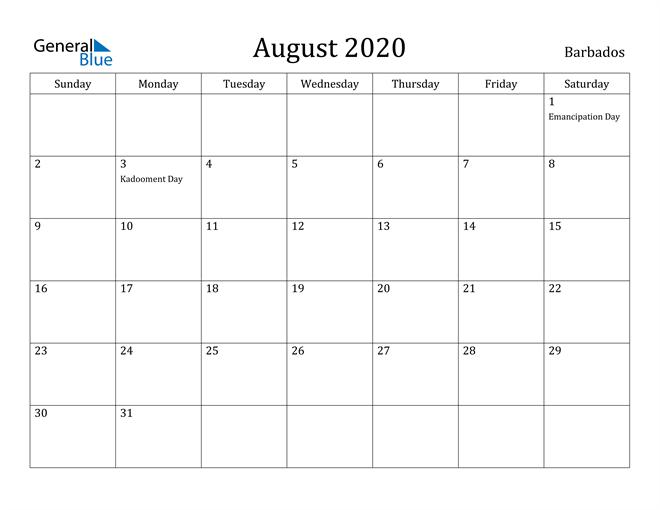 Image of August 2020 Barbados Calendar with Holidays Calendar