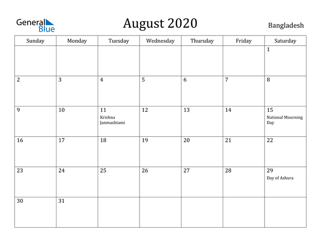 Image of August 2020 Bangladesh Calendar with Holidays Calendar