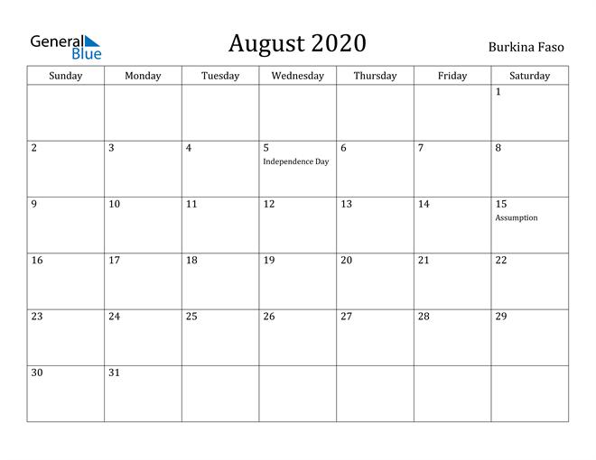 Image of August 2020 Burkina Faso Calendar with Holidays Calendar