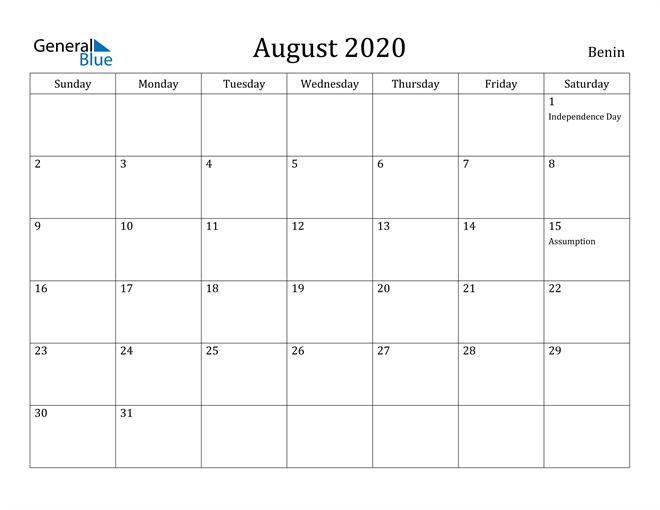 Image of August 2020 Benin Calendar with Holidays Calendar