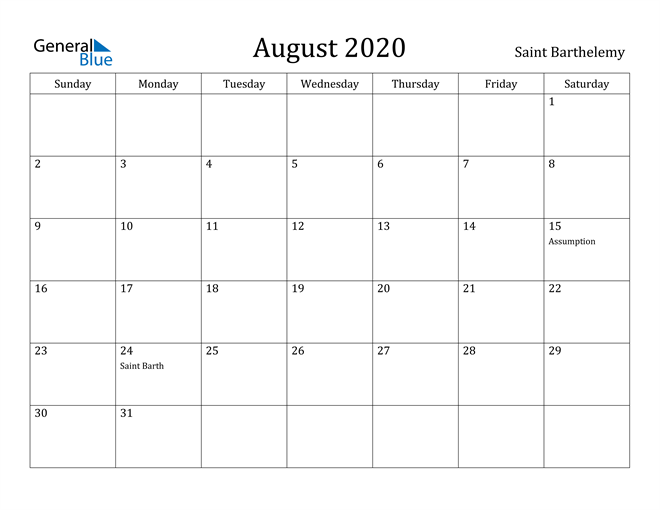 Image of August 2020 Saint Barthelemy Calendar with Holidays Calendar