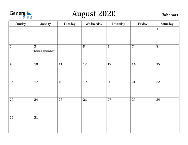 Image of August 2020 Bahamas Calendar with Holidays Calendar