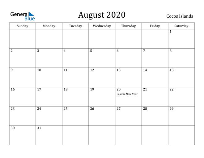 Image of August 2020 Cocos Islands Calendar with Holidays Calendar