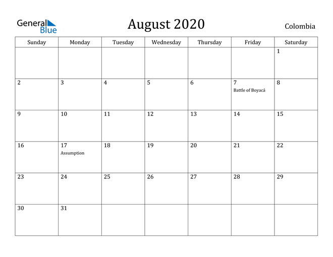 Image of August 2020 Colombia Calendar with Holidays Calendar