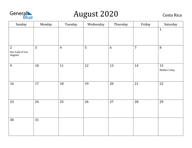 Image of August 2020 Costa Rica Calendar with Holidays Calendar