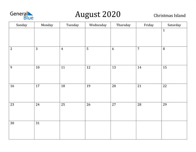 Image of August 2020 Christmas Island Calendar with Holidays Calendar
