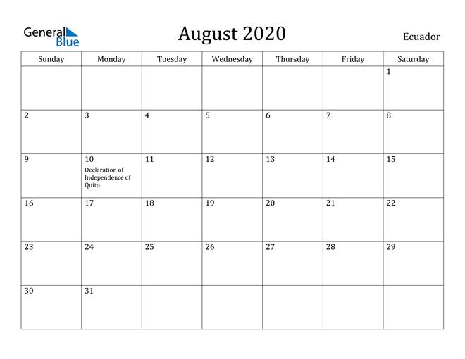 Image of August 2020 Ecuador Calendar with Holidays Calendar