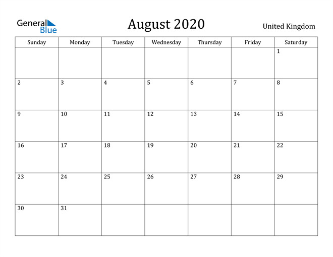 Image of August 2020 United Kingdom Calendar with Holidays Calendar