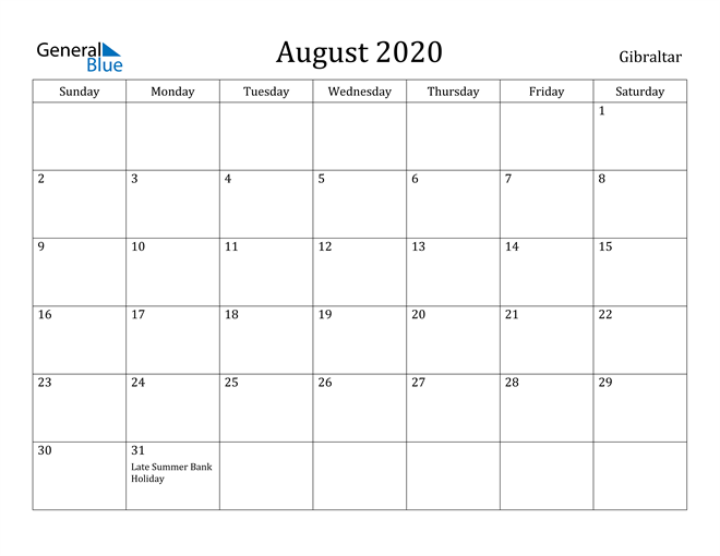 Image of August 2020 Gibraltar Calendar with Holidays Calendar