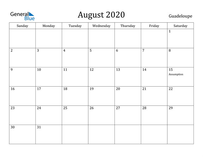 Image of August 2020 Guadeloupe Calendar with Holidays Calendar
