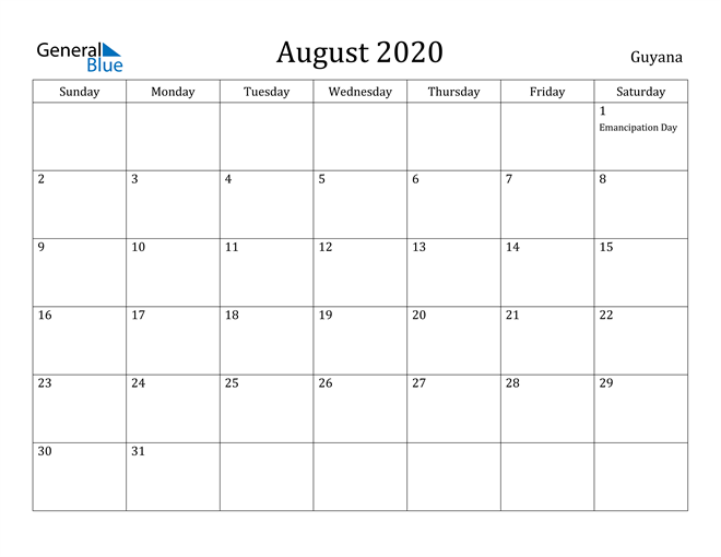 Image of August 2020 Guyana Calendar with Holidays Calendar