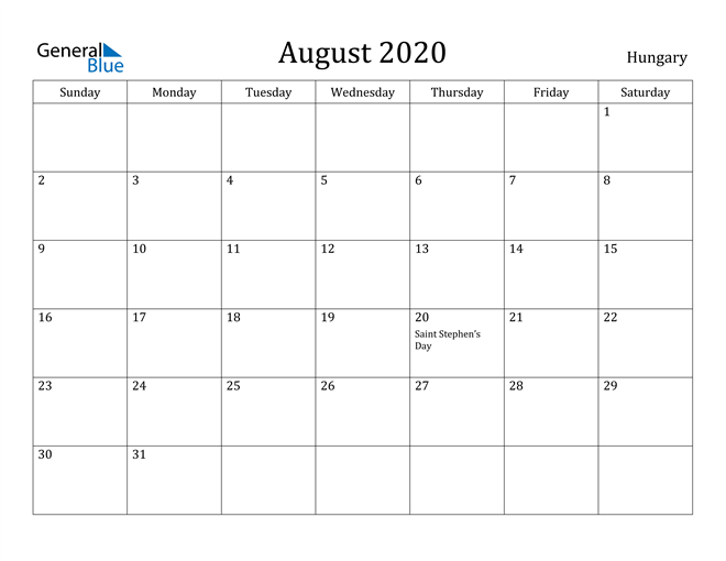 Image of August 2020 Hungary Calendar with Holidays Calendar
