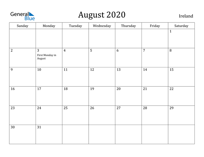 Image of August 2020 Ireland Calendar with Holidays Calendar