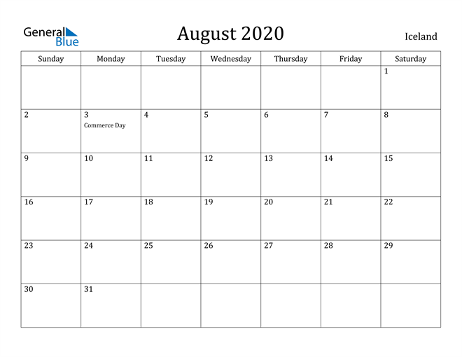 Image of August 2020 Iceland Calendar with Holidays Calendar