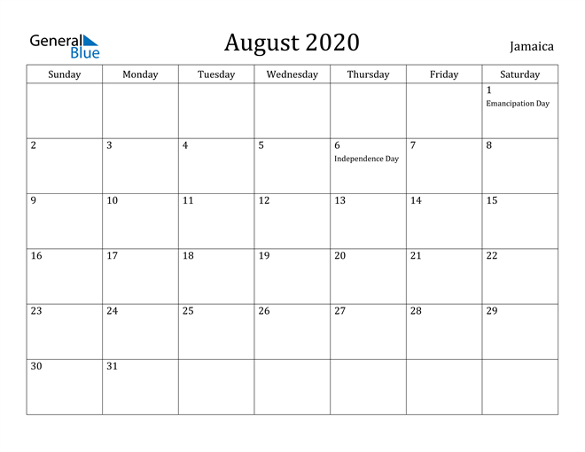Image of August 2020 Jamaica Calendar with Holidays Calendar