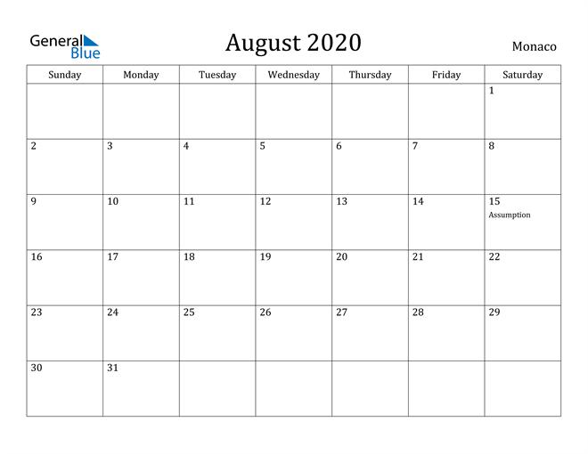 Image of August 2020 Monaco Calendar with Holidays Calendar