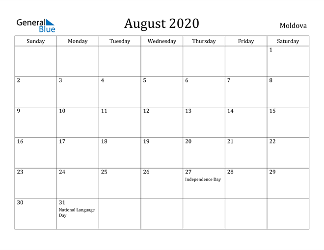 Image of August 2020 Moldova Calendar with Holidays Calendar