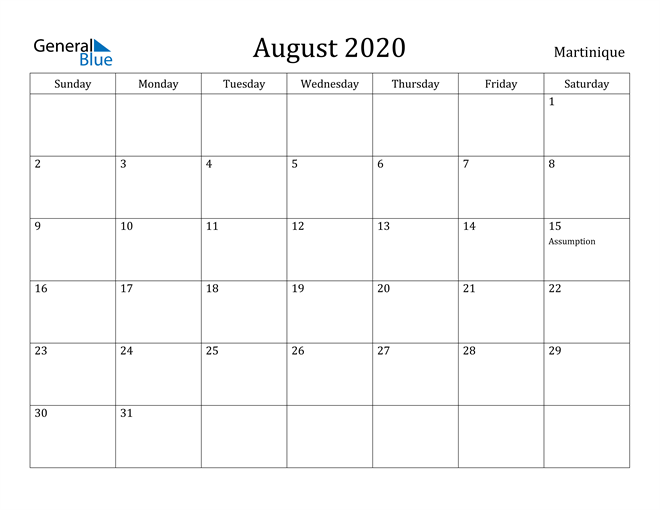 Image of August 2020 Martinique Calendar with Holidays Calendar