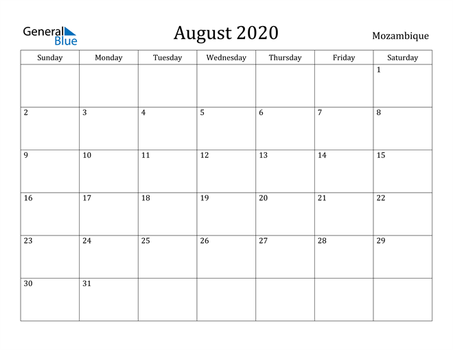 Image of August 2020 Mozambique Calendar with Holidays Calendar