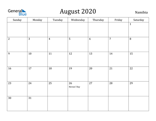 Image of August 2020 Namibia Calendar with Holidays Calendar