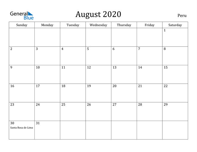 Image of August 2020 Peru Calendar with Holidays Calendar