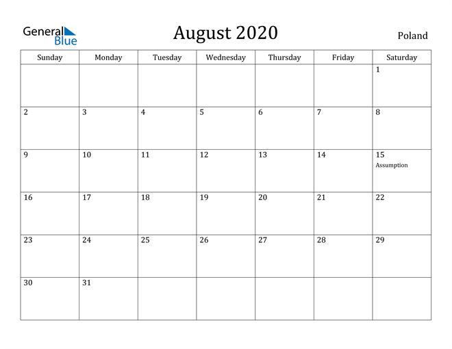 Image of August 2020 Poland Calendar with Holidays Calendar