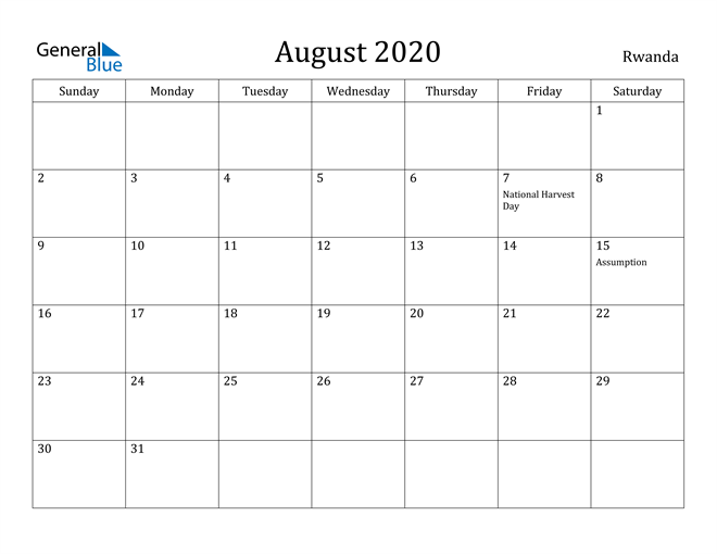 Image of August 2020 Rwanda Calendar with Holidays Calendar