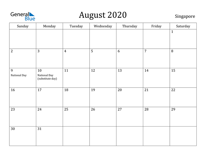 Image of August 2020 Singapore Calendar with Holidays Calendar