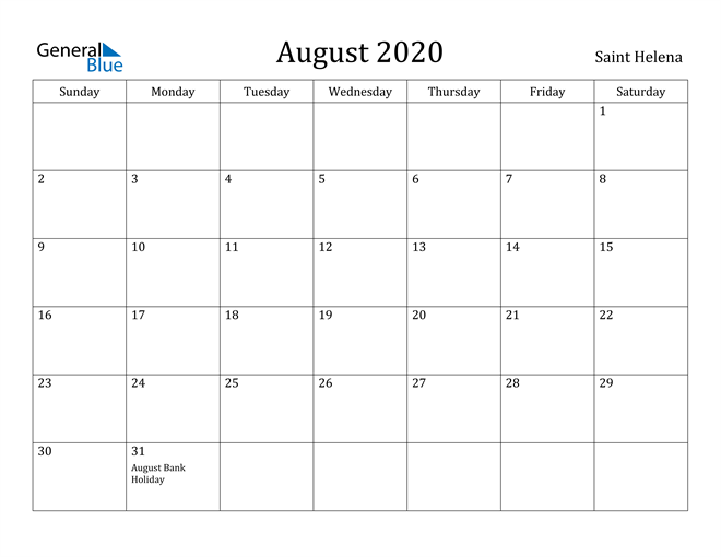 Image of August 2020 Saint Helena Calendar with Holidays Calendar