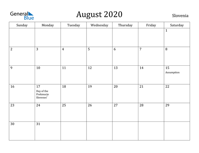 Image of August 2020 Slovenia Calendar with Holidays Calendar