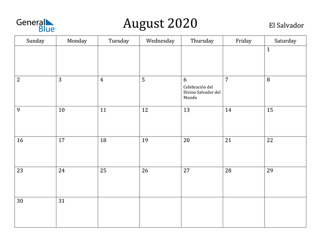 Image of August 2020 El Salvador Calendar with Holidays Calendar