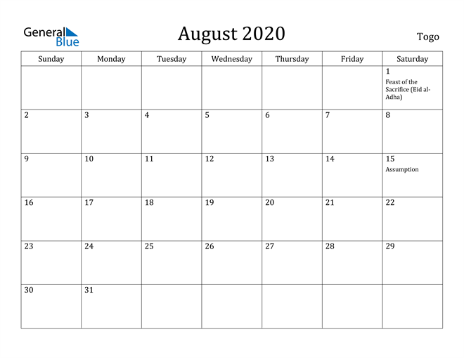 Image of August 2020 Togo Calendar with Holidays Calendar