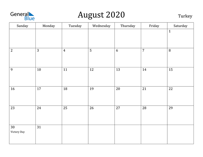 Image of August 2020 Turkey Calendar with Holidays Calendar