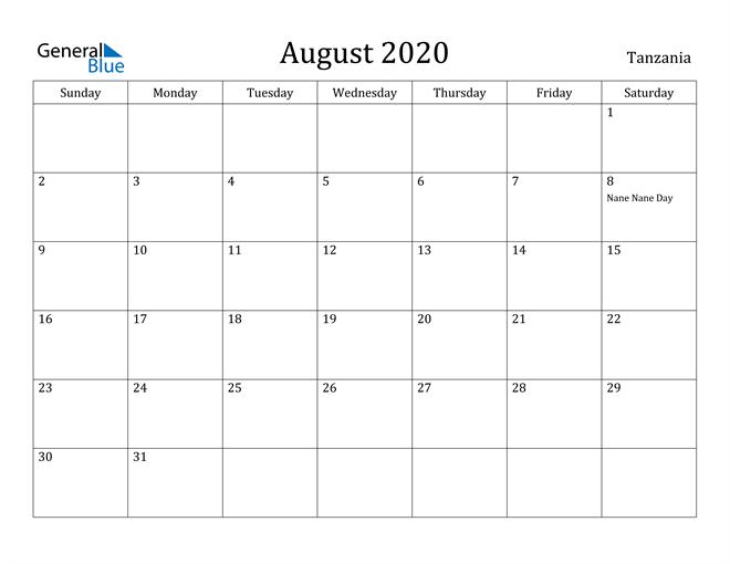 Image of August 2020 Tanzania Calendar with Holidays Calendar
