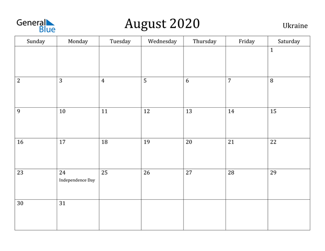 Image of August 2020 Ukraine Calendar with Holidays Calendar