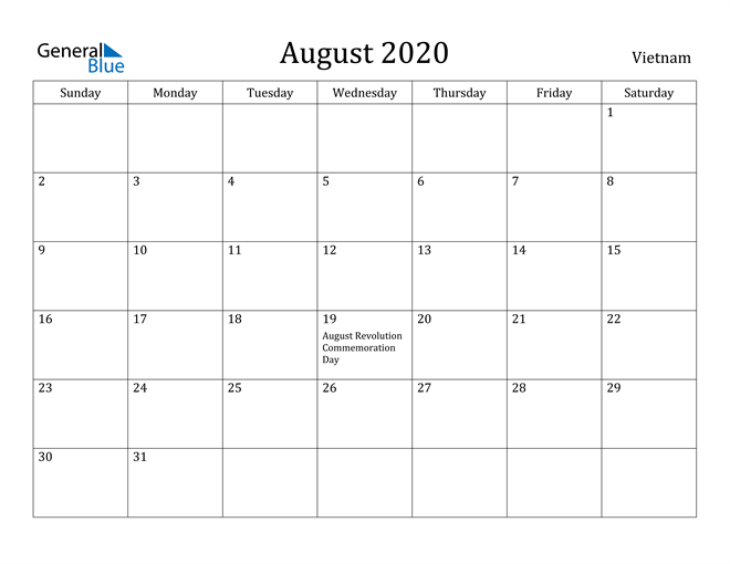 Image of August 2020 Vietnam Calendar with Holidays Calendar