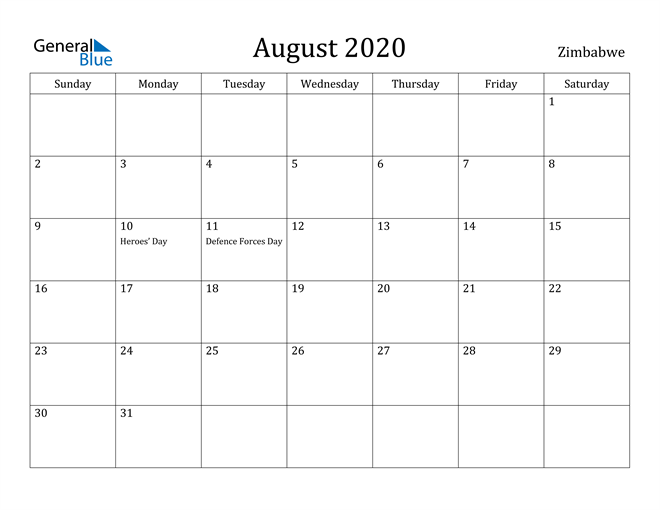 Image of August 2020 Zimbabwe Calendar with Holidays Calendar