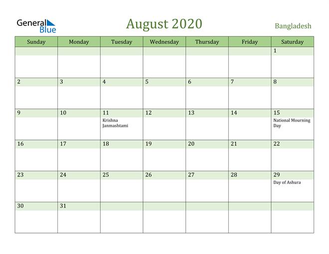 August 2020 Calendar with Bangladesh Holidays