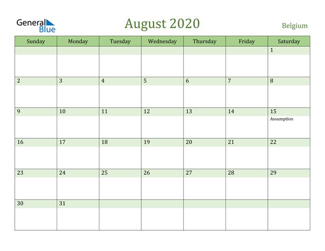 August 2020 Cool and Relaxing Green Calendar Calendar