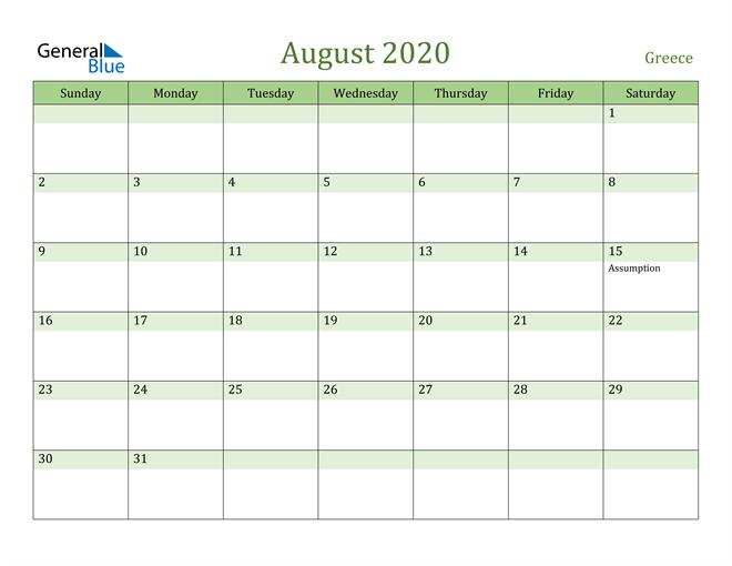 August 2020 Calendar with Greece Holidays