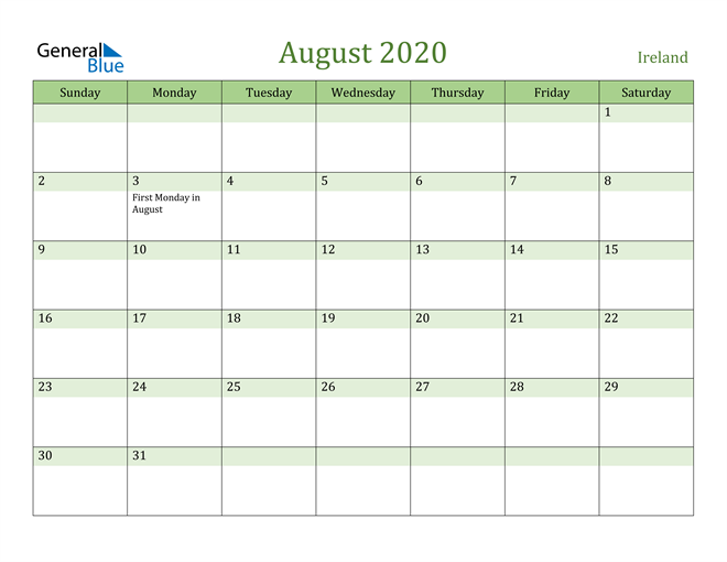 Image of August 2020 Cool and Relaxing Green Calendar Calendar