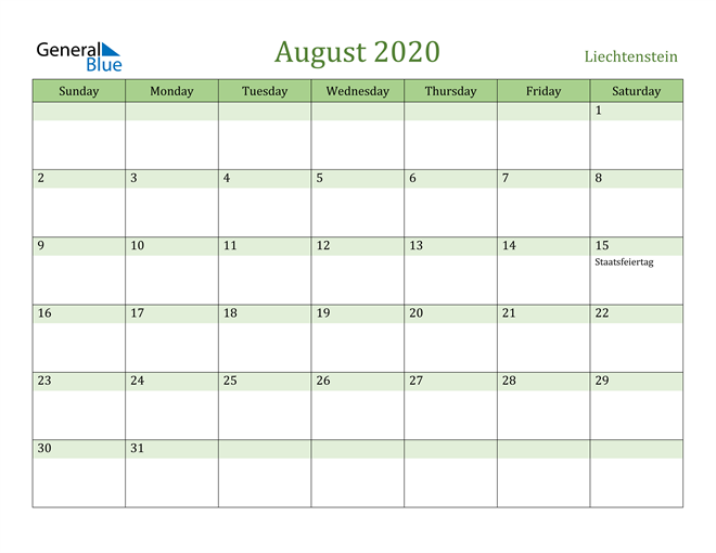 August 2020 Calendar with Liechtenstein Holidays